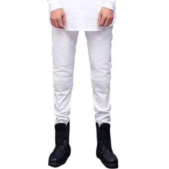 Men's Casual Pencil Pants Slim Straight Jeans White (Intl)