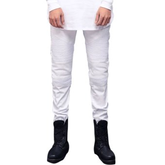 Men's Casual Pencil Pants Slim Straight Jeans White (Intl)