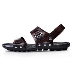 Men's Casual Slippers Flip Flops Sandals Home Summer Shoes Sandy Beach Shoes Ps304of (Darkkhaki) (Intl)