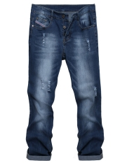 Men's Casual Straight Denim Jeans Frayed Slim Ripped Pants