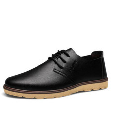 Men's Casual Ventilation Fashion Trends Leather Shoes (Black) (Intl)