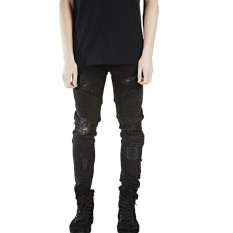Mens Denim Slim Straight Biker Skinny Jeans (Black) - Intl
