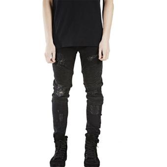 Mens Denim Slim Straight Biker Skinny Jeans (Black) - Intl