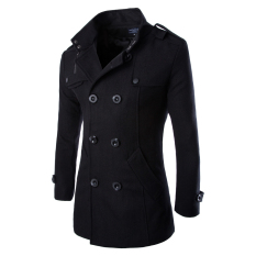Men's Double Breasted Trench Coats Black (Intl)