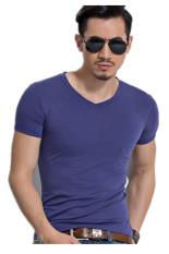 Men's Fashion Casual Cotton Slim Fit T-Shirts (Violet) - Intl