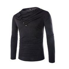 Men's Fashion Casual Heap Collar Long-sleeved T-shirt Black (Intl)
