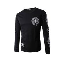 Men's Fashion Casual Letters Printed Round Neck Long-sleeved T-shirt Black (Intl)