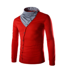 Men's Fashion Casual Long-sleeved T-shirt Collar Stitching Red (Intl)