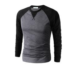 Men's Fashion Casual Round Neck Long-sleeved T-shirt Dark Grey (Intl)