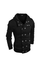 Men's Fashion Casual Slim Cardigan Sweater Coat Black (Intl)