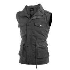 Men's Fashion Casual Slim Sleeveless Jackets Grey (Intl)