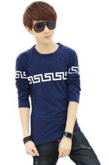 Men's Fashion Clothing Autumn Long Sleeve T-Shirt Teenager Korean Slim Tops Greatwall Printed Casual T-Shirts (Blue) (Intl)
