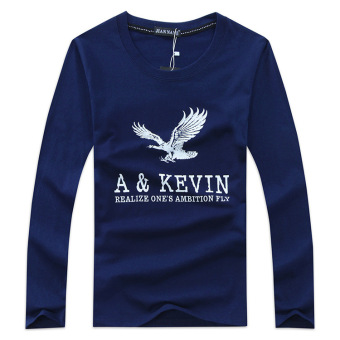 Men's Fashion Long-sleeved O-neck Printing Eagle T-shirt (Dark Blue)