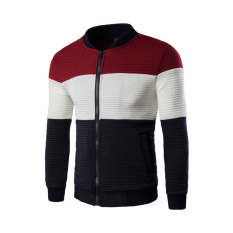 Men's Fashion Slim Fit Stitching Jacket with Pockets (Red) (Intl)