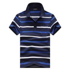 Men's Fashion Stripes Lapel Short Sleeve Polo Shirt Cotton T-shirt DF32 - Intl