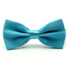Men's Fashion Tuxedo Satin Plain Solid Color Adjustable Wedding Bowtie Bow Tie Sky Blue