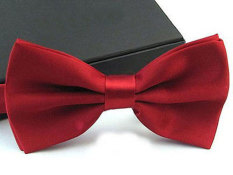 Men's Fashion Tuxedo Satin Plain Solid Color Adjustable Wedding Bowtie Bow Tie Wine Red