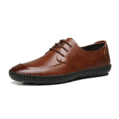 Men's Genuine Leather Fashion Casual Shoes (Brown) (Intl)