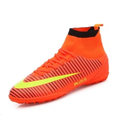 Men's High Ankle Turf Indoor Futsal Shoes Soccer Cleats Outdoor Football Shoes Boots Orange - intl