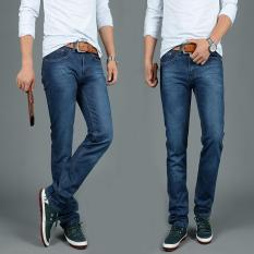 Men's Hole Jeans Straight Loose Fit Jeans Casual Denim Pants Male Pants Trousers - Intl