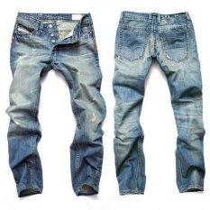 Mens Hole Slim Biker Jeans Denim Straight Jeans Casual Hip Hop Pants Size 40 Blue (Intl)