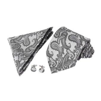 Mens Jacquard Neck Tie Hanky Cufflinks Set Wedding Neckwear Dark Grey