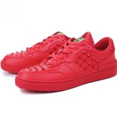 Men's Lace Up Board Shoes Rivet Shoes Fashion Sneaker (Red)
