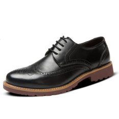 Men's Leather Shoes Business Casual British Style Shoes Lace Up Loafers (Black) (Intl)