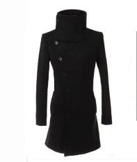 Mens Long Coat Men's Wool Coat Turn Down Collar Sing Breasted Men Trench Coat - Intl
