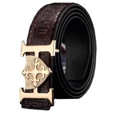 Men's Luxury Geniune Leather Belt H Letter Buckle Crocodile Grain MBT1614E-2 Coffee (Intl)