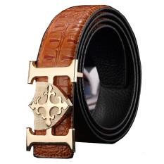 Men's Luxury Geniune Leather Belt H Letter Buckle Crocodile Grain MBT1614E-3 Brown (Intl)