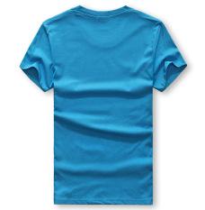 Men's Lycra Cotton Short-sleeves O-neck Printing T-shirt (Blue)