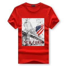 Men's Lycra Cotton Short-sleeves O-neck T-shirt Fun Printing American Flag (Red)
