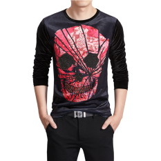 Men's New Autumn And Winter 3D Printing Velvet Slim Crew Neck Long-sleeved T-shirt- Intl