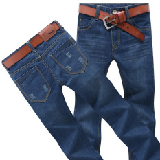 Men's New Fashion Straight Slim Jeans Denim Trousers Navy Blue Four Seasons Type
