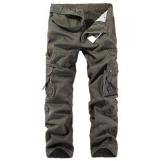 Men's Pants Straight Legs Cotton Big Yards Trousers Multi-pocket (Coffee) (Intl)