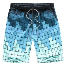 Men's Quick-surf Surfing Beach Pants (Printing Black and Blue Grid)