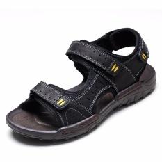 Men's Sandals Slippers Genuine Leather Cowhide Men Sandals Brand Designer Classical Summer Flat Footwear Man Beach Casual Shoes - Intl