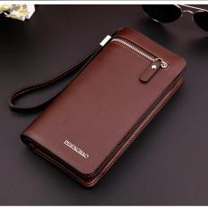 Men's Soft Leather L-wallet Popular Wrist Business Handbag Classic Money Clips(Coffee) - Intl