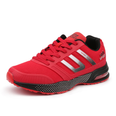 Mens Sport Tennis Shoes Lace Up With Air Cushion Casual Fashion Running Badminton Sneakers (Red) - intl