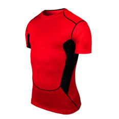 Men's Sports Wear Tight Clothing PRO Short Sleeved Ventilation Speed Dry Fitness Running Football Basketball Training Suit Sport Red Color