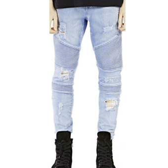 Mens Straight Slim Jeans (Light Blue)