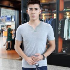 Men's Tops Tees Summer New Cotton V-Neck Short Sleeve T Shirt Men Fashion Slim Fit Basic Tee Trends T-shirt (Grey) - Intl - Intl