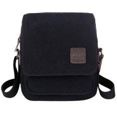 Men's Trendy Small Canvas Cross Body Messenger Bags (Black)