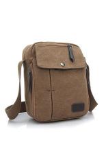Men's Vintage Canvas Leather Shoulder Bag Military Messenger Bag Satchel School (Coffee) - Intl - Intl
