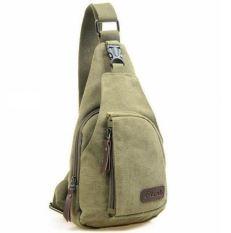 Men's Women's Small Canvas Sling Messenger Chest Bag Backpack Shoulder Travel Fanny (Army Green) - Intl