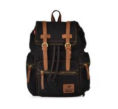Men's Women's Vintage Canvas Backpack Rucksack Shoulder Bag Messeger Schoolbag Satchel (Black) - Intl