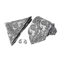 Mens Jacquard Neck Tie Hanky Cufflinks Set Wedding Neckwear Dark Grey - INTL