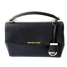 Michael Kors Ava Small Saffiano Leather Satchel (Black)