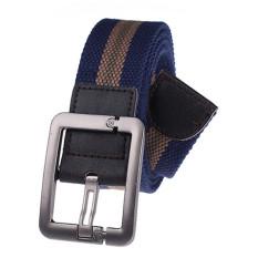Military Style Unisex Single Grommet Adjustable Canvas Belt Web Belt Woven Belt Royal Blue 120cm - Intl